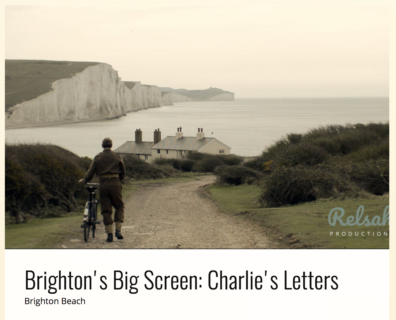 Announcing Charlie's Letters to air at Big Screen Brighton on August 11th