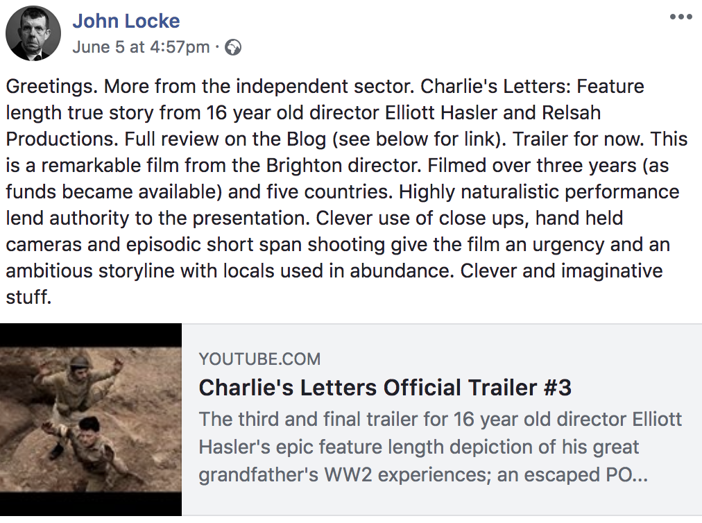 Actor & Director John Locke Reviews Charlie's Letters