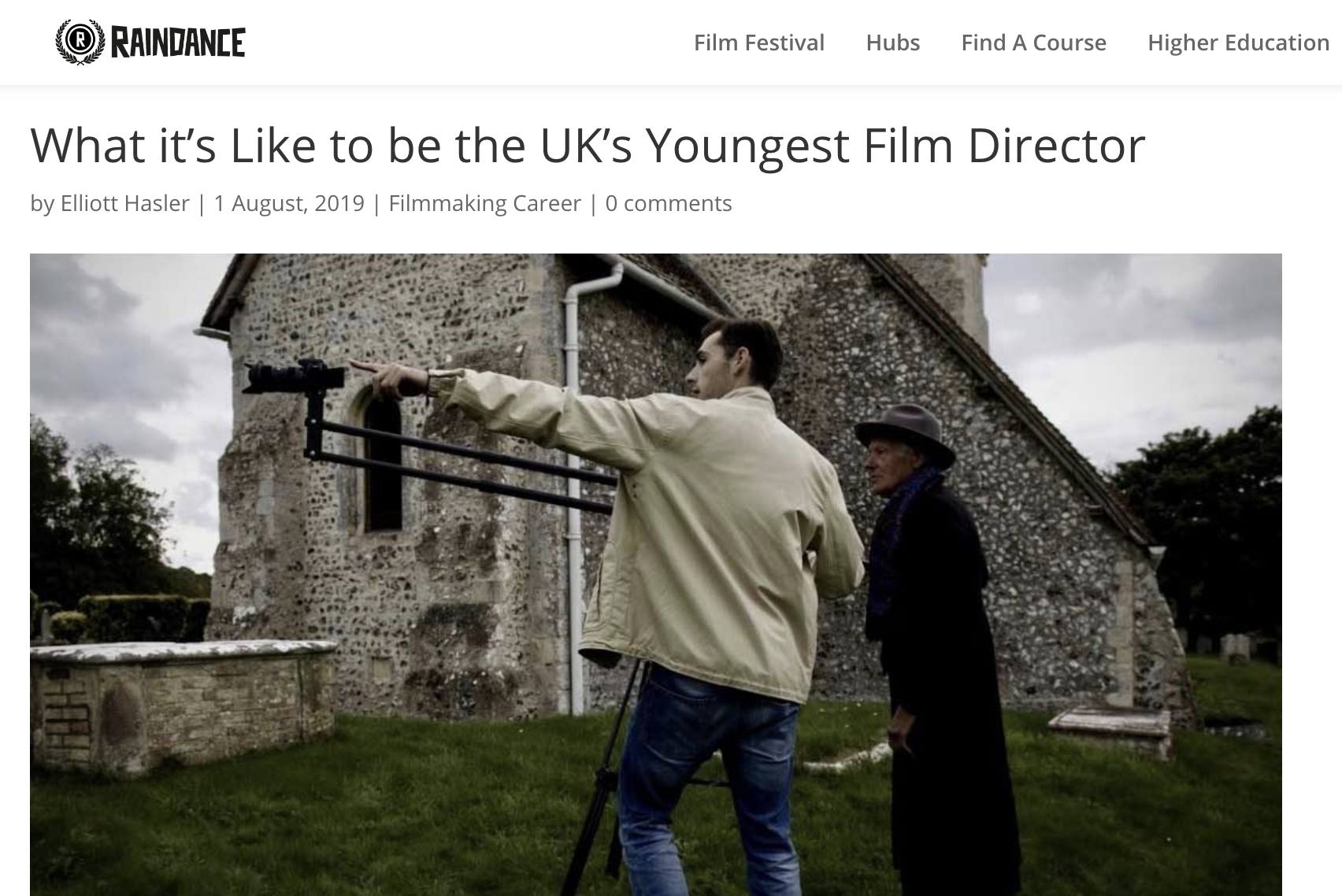 Elliott's Article on Raindance Film Festival Website