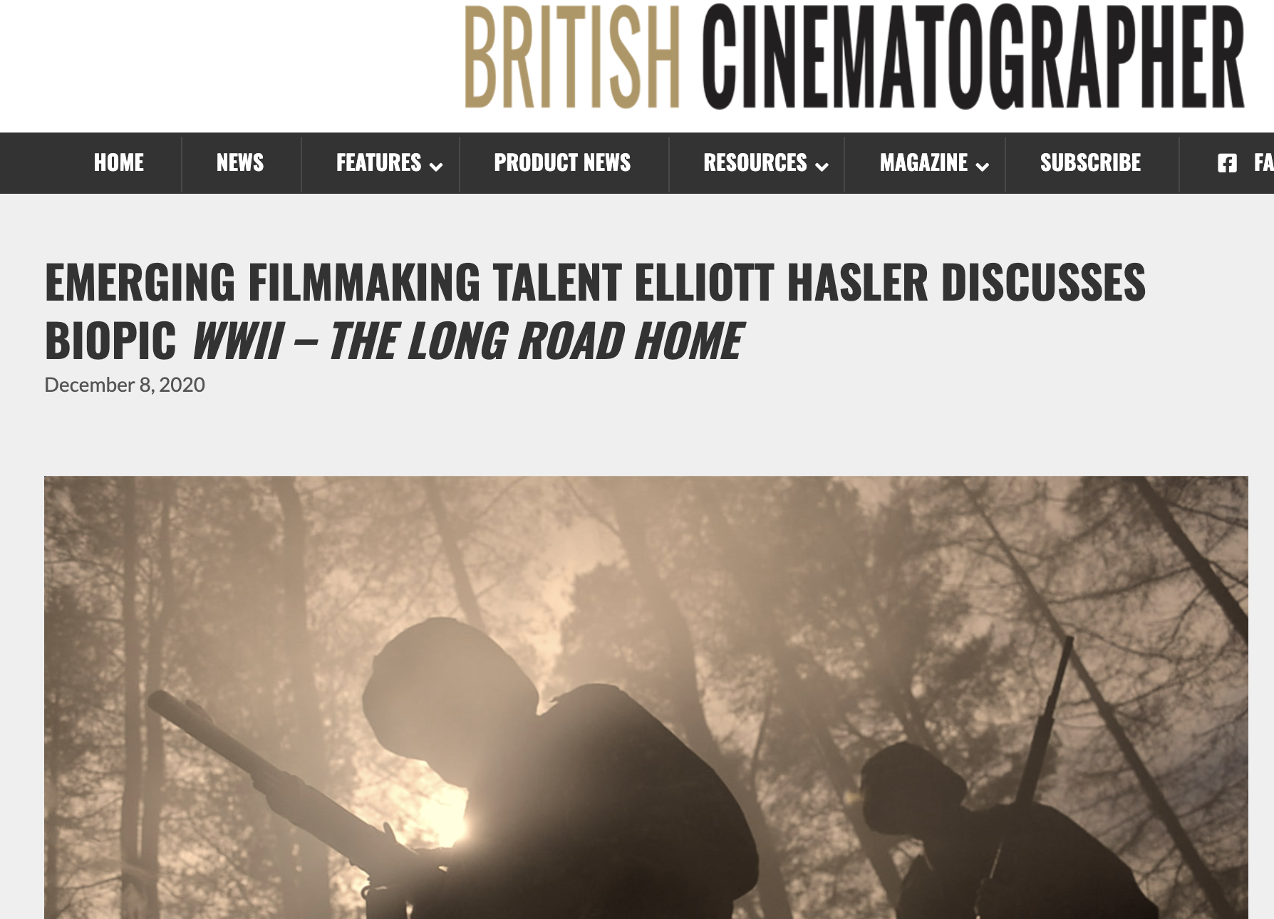 EMERGING FILMMAKING TALENT ELLIOTT HASLER DISCUSSES BIOPIC WWII – THE LONG ROAD HOME