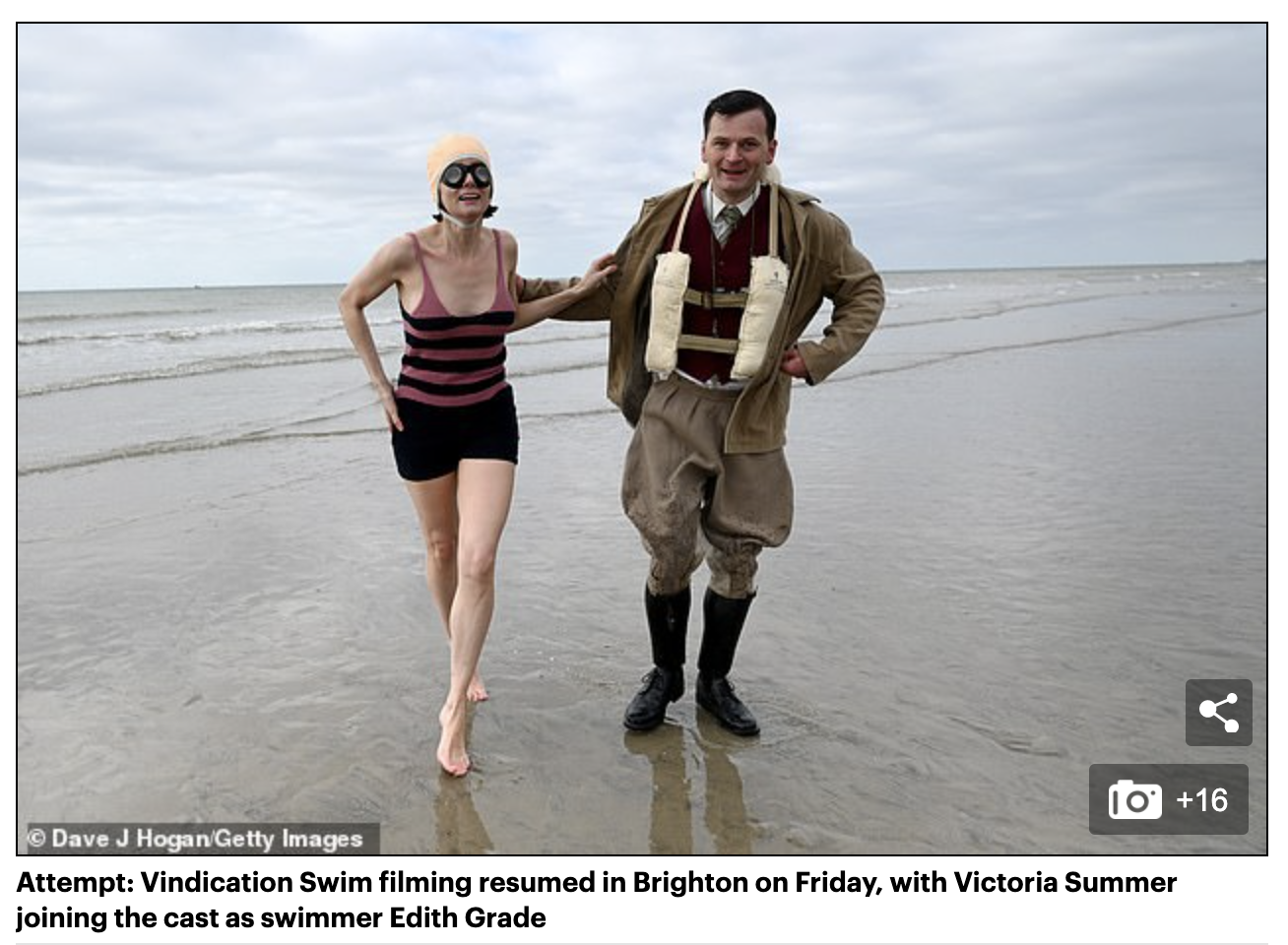 Daily Mail: Vindication Swim FIRST LOOK: Victoria Summer becomes 1920s swimmer Edith Grade as filming continues for biopic depicting her fierce rivalry with Mercedes Gleitze