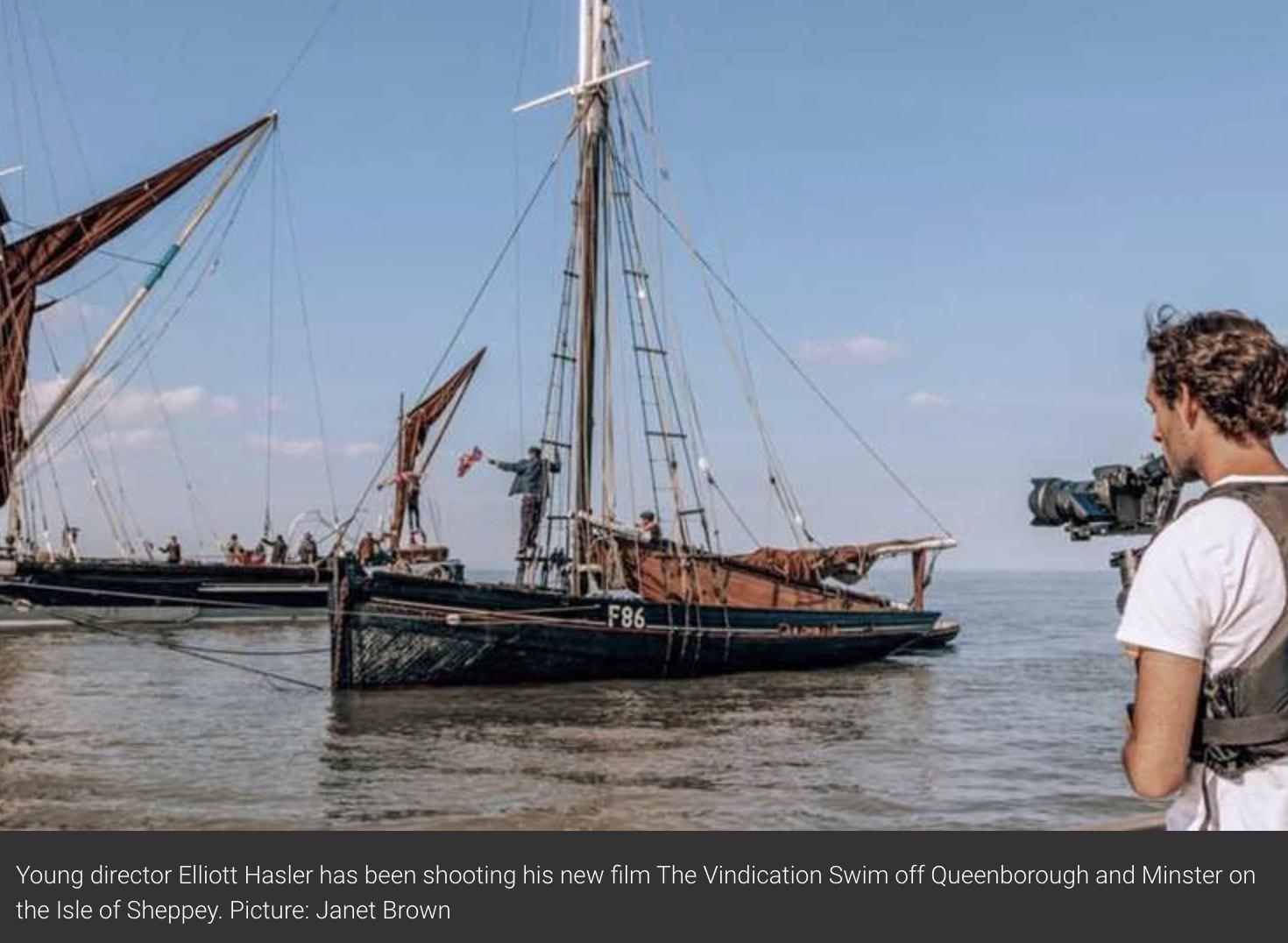 Kent Online: 'Vindication Swim' film crew shoots scenes of Thames barges off Sheppey